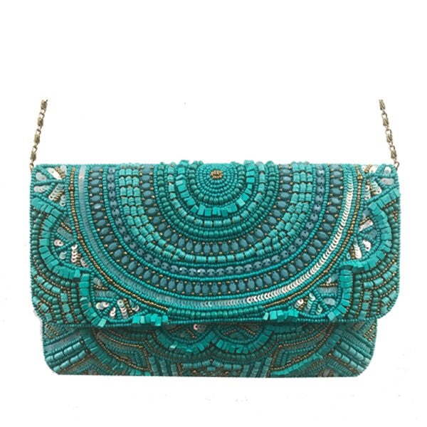 Turquoise Flapover All Beaded Clutch
