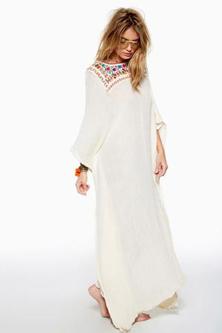 Fiesta Oasis Kaftan - Natural/Colorful