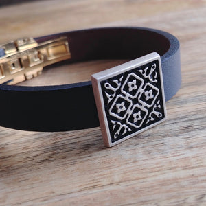 ARCHITECTURE, Cuff Bracelet, Sterling Silver and Natural Leather