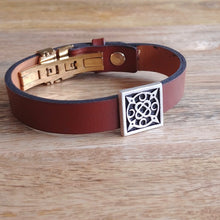 Load image into Gallery viewer, SWIRLING HEAVENS, Cuff Bracelet, Sterling Silver and Natural Leather