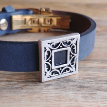 Load image into Gallery viewer, GARDEN and LIN, Cuff Bracelet, Sterling Silver and Natural Leather