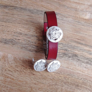 COINS, Set of Cufflinks and Bracelet, Sterling Silver and Natural Leather