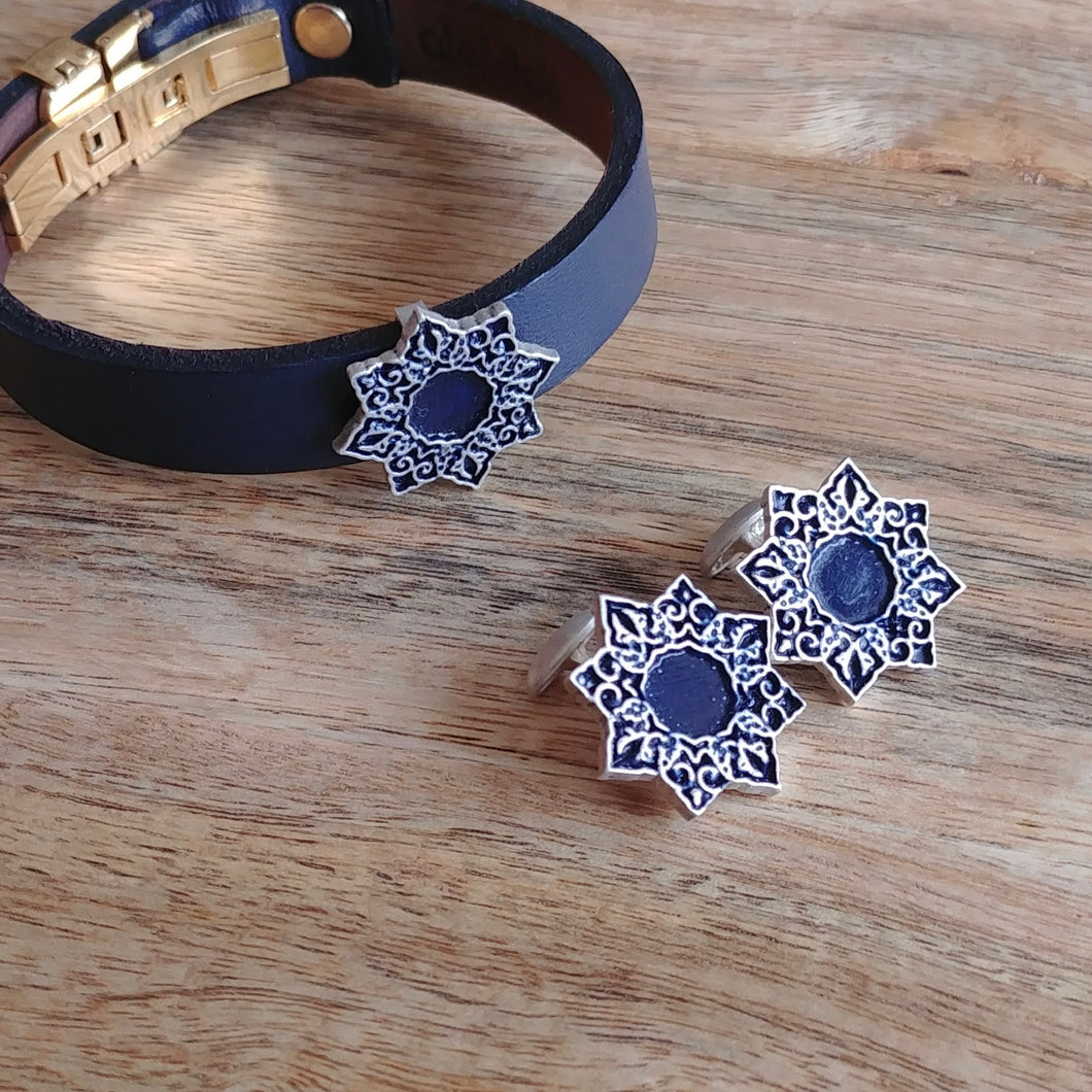 SHAMSA, Set of Cufflinks and Bracelet, Sterling Silver and Natural Leather