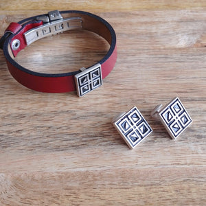 WINDOWS, Set of Cufflinks and Bracelet, Sterling Silver and Natural Leather