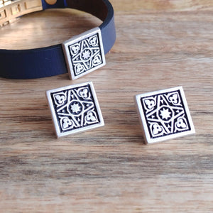 FOUR GARDENS, Set of Cufflinks and Bracelet, Sterling Silver and Natural Leather