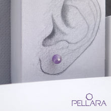 Load image into Gallery viewer, Sterling silver natural gemstone stud earrings contains a sparkling piece of Cubic Zirconia. Very light and hypo-allergenic, 6mm or 8mm beads. Amethyst