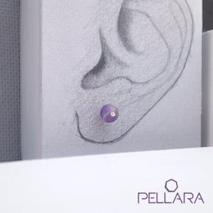 Sterling silver natural gemstone stud earrings contains a sparkling piece of Cubic Zirconia. Very light and hypo-allergenic, 6mm or 8mm beads. Amethyst