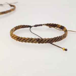 Dark Brown macrame jewellery set, Necklace and bracelet, golden plated stainless steel pendant. Adjustable, Handmade