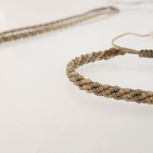 Pale brown macrame jewellery set, Necklace and bracelet, golden plated stainless steel or Sterling silver pendant. Adjustable, Handmade