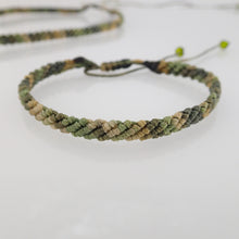 Load image into Gallery viewer, Camouflage green macrame jewellery set, Necklace and bracelet, golden plated stainless steel or Sterling silver pendant. Adjustable, Handmade
