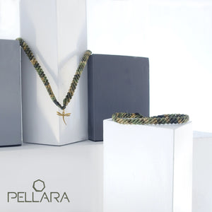 Camouflage green macrame jewellery set, Necklace and bracelet, golden plated stainless steel or Sterling silver pendant. Adjustable, Handmade