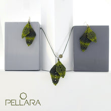Load image into Gallery viewer, Early summer leaves macrame jewellery set, Necklace and earrings, Sterling silver hooks and bail. Adjustable, Handmade, dragon blood stone