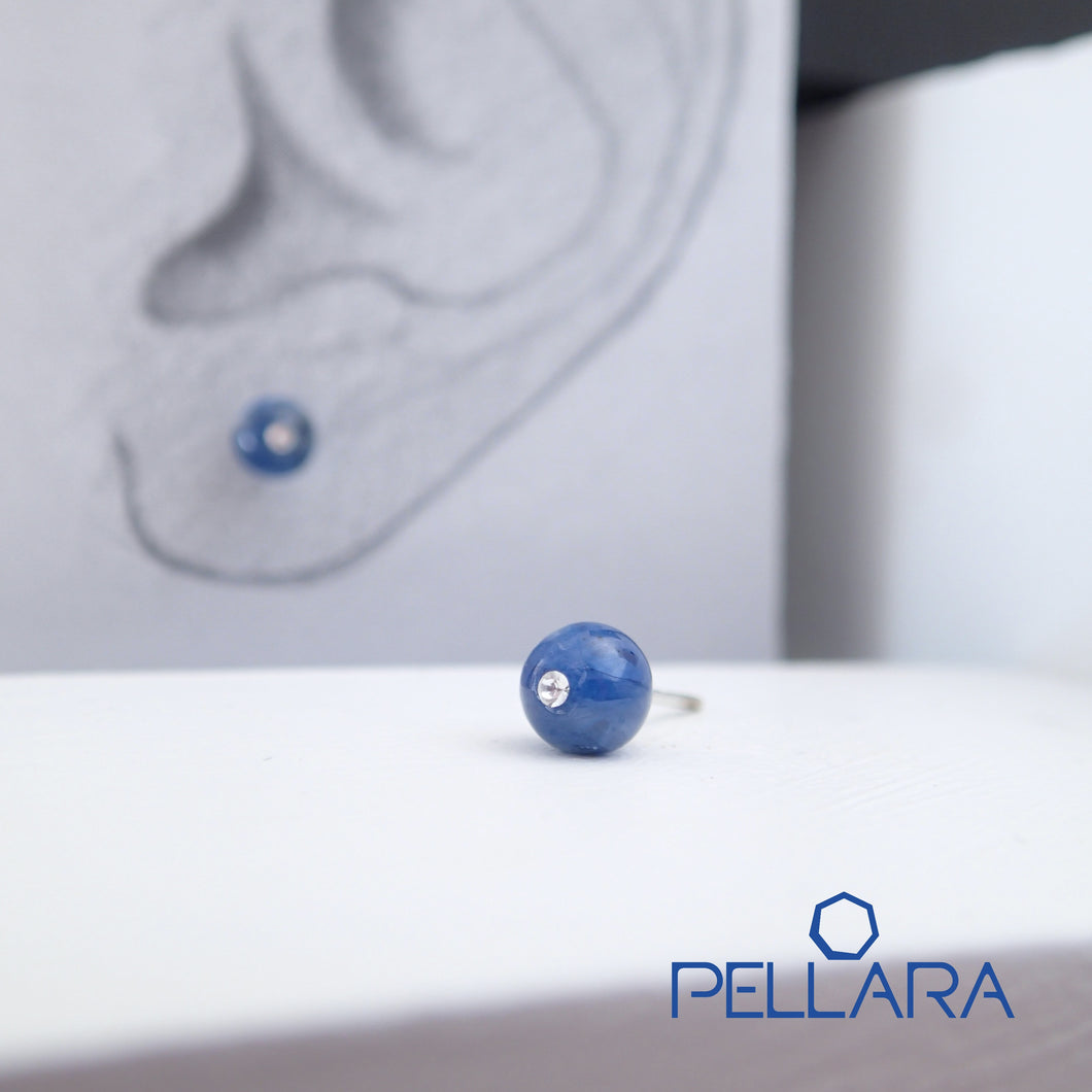Sterling silver natural gemstone stud earrings contains a sparkling piece of Cubic Zirconia. Very light and hypo-allergenic, 6mm or 8mm beads. Kyanite