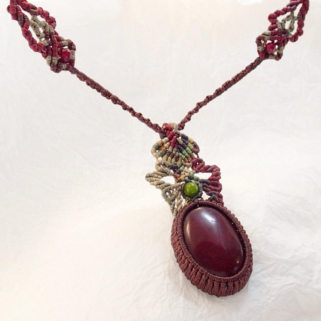 Blood Red Jasper Micro Macrame Necklace