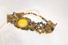 Load image into Gallery viewer, Yellow Agate Khaki Micro Macrame Set of Bracelet, Necklace, Choker, ring and a Pair of Earrings