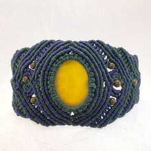 Load image into Gallery viewer, Micro Macrame Bracelet, Natural Yellow Agate Cabochon