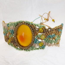 Load image into Gallery viewer, Micro Macrame Bracelet, Yellow Agate Cabochon