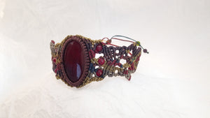 Micro Macrame Bracelet, Red Agate Cabochon