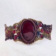 Load image into Gallery viewer, Red Jasper Maroon Micro Macrame Set of Bracelet, Choker and a Pair of Earrings