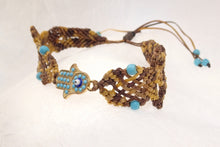 Load image into Gallery viewer, Hamsa macrame bracelet. Adjustable, Handmade in Canada, Khaki