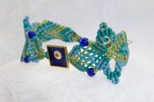 Load image into Gallery viewer, Evil Eye macrame bracelet. Adjustable, Handmade in Canada, Turquoise green