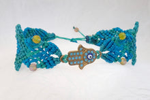 Load image into Gallery viewer, Hamsa macrame bracelet. Adjustable, Handmade in Canada, Turquiose Blue