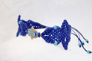 Hamsa macrame bracelet. Adjustable, Handmade in Canada, royal Blue