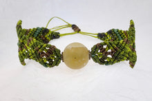 Load image into Gallery viewer, Macrame bracelet, frosted afghan jade bead. Adjustable, Handmade in Canada