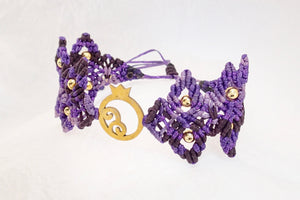 Pomegranate macrame bracelet, golden plated stainless steel pomegranate plaque. Adjustable, Handmade in Canada, Purple