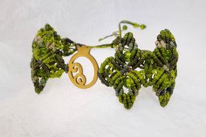 Pomegranate macrame bracelet, golden plated stainless steel pomegranate plaque. Adjustable, Handmade in Canada, Pistachio Green.