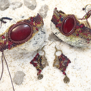 Red Jasper Maroon Micro Macrame Set of Bracelet, Choker and a Pair of Earrings