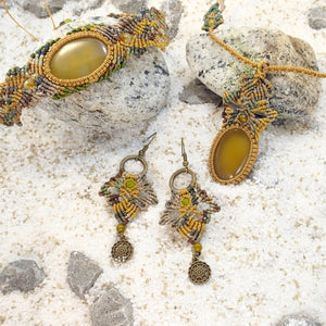 Yellow Agate Khaki Micro Macrame Set of Bracelet, Necklace, Choker, ring and a Pair of Earrings