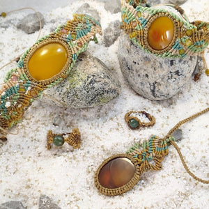 Yellow Agate Citron Micro Macrame Set of Bracelet, Necklace, Choker, ring and a Pair of Earrings