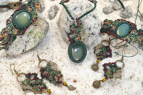 Dark Green Agate Micro Macrame Set of Bracelet, Necklace, Choker and Two Pairs of Earrings