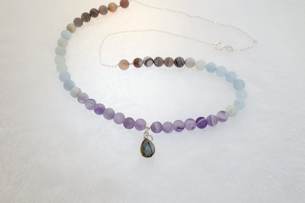 ESSENCE OF MEMORY, Necklace of Natural Stone Beads and Sterling Silver Pendant
