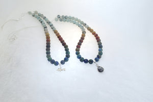 SUMMER BREEZE, Necklace of Natural Stone Beads and Sterling Silver Pendant