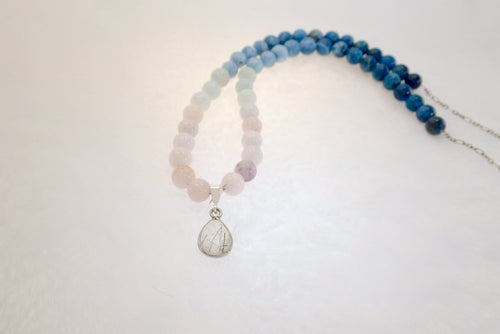FLOWING IN THE DEEP, Necklace of Natural Stone Beads and Sterling Silver