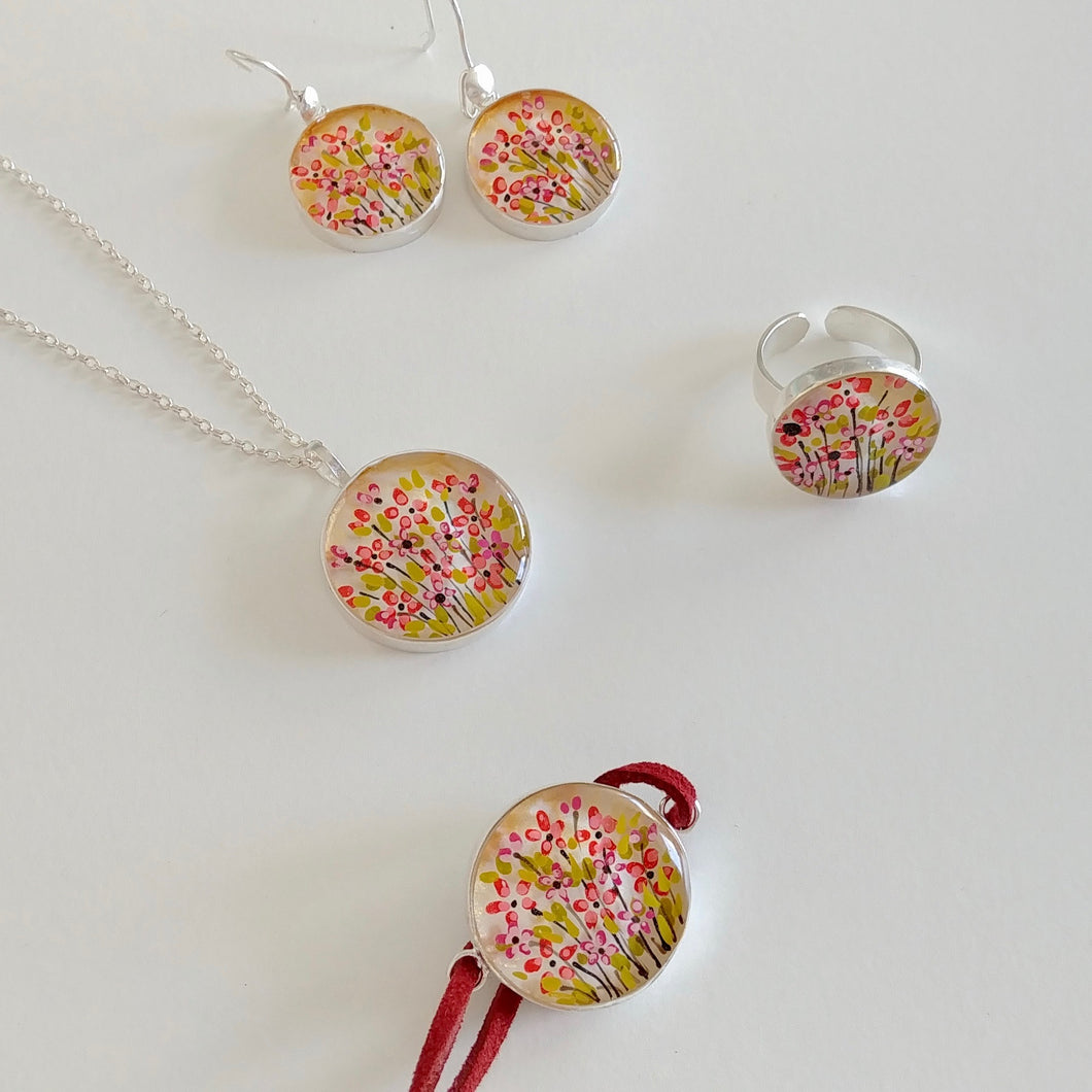 SPRING BLOOM, Hand Painted Set of Necklace, Bracelet, Ring and Earrings