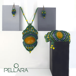 Macrame set of necklace, bracelet and earrings, By Pellara, made in Canada. Adjustable to fit different sizes. Boho and Gypsy style, Yellow agate natural gemstone.