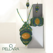 Load image into Gallery viewer, Macrame set of necklace, bracelet and earrings, By Pellara, made in Canada. Adjustable to fit different sizes. Boho and Gypsy style, Yellow agate natural gemstone.