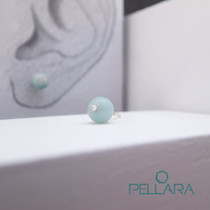 Sterling silver natural gemstone stud earrings contains a sparkling piece of Cubic Zirconia. Very light and hypo-allergenic, 6mm or 8mm beads. Amazonite