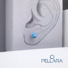 Load image into Gallery viewer, Sterling silver natural gemstone stud earrings contains a sparkling piece of Cubic Zirconia. Very light and hypo-allergenic, 6mm or 8mm beads. Apatite