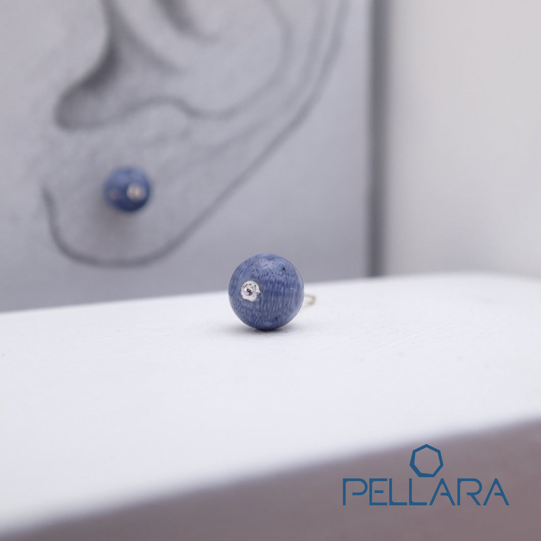 Sterling silver natural gemstone stud earrings contains a sparkling piece of Cubic Zirconia. Very light and hypo-allergenic, 6mm or 8mm beads. Blue Coral