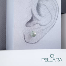 Load image into Gallery viewer, Sterling silver natural gemstone stud earrings contains a sparkling piece of Cubic Zirconia. Very light and hypo-allergenic, 6mm or 8mm beads. Jade