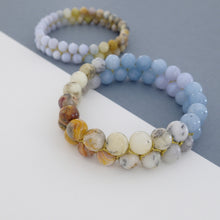 Load image into Gallery viewer, Gemstone bracelet by Pellara, inspired by nature. Infinite fields, made of Agate by beads & other crystals  8 or 6 mm