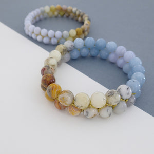 Gemstone bracelet by Pellara, inspired by nature. Infinite fields, made of Agate by beads & other crystals  8 or 6 mm