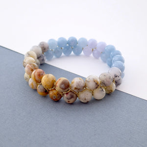 Gemstone bracelet by Pellara, inspired by nature. Infinite fields, Ir Represent  Aries, Gemini, Scorpio, Leo & Capricorn zodiacs.