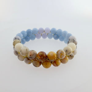 Gemstone bracelet by Pellara, inspired by nature. Infinite fields, made of agate, quartz, aquamarine and opal. Aries, Gemini, Scorpio, Leo & Capricorn zodiacs. 8mm stones