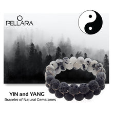 Load image into Gallery viewer, Gemstone bracelet by Pellara, Yin & Yang, Leo, Virgo, Scorpio, Aries & Capricorn zodiacs. 6 & 8mm.