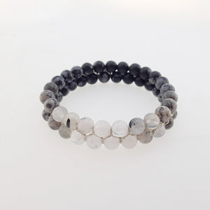 Gemstone bracelet by Pellara, Yin & Yang, The Crown, heart, Solar Plexus & base chakras,